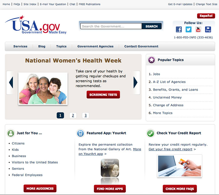 USA.gov Website Invisible Web Search