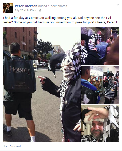 Comic-Con 2014 Peter Jackson Facebook Post
